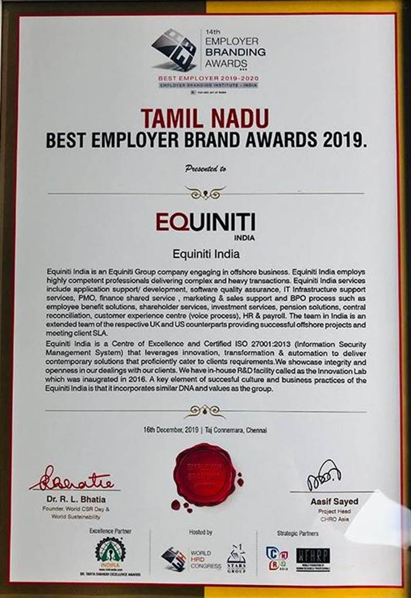 Tamil Nadu Best Employer Brand Award 2019