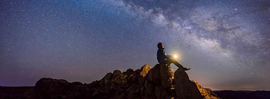 Skylight, Milky Way, Person